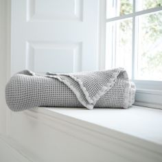 Stonewashed 100% Cotton Plain Throw - Grey