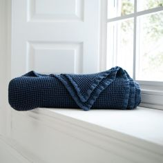 Stonewashed 100% Cotton Plain Throw - Navy Blue