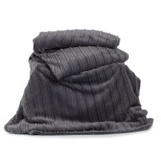 Castlelton Striped Soft Throw - Charcoal Grey