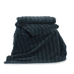 Castlelton Striped Soft Throw - Petrol Blue