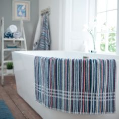 Coastal Stripe 100% Cotton Bathroom Towel - Blue