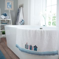 Beach Huts 100% Cotton Bathroom Towel - White