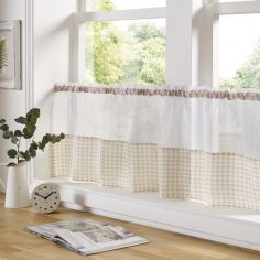 Gingham Check Cafe Net Curtain - Beige
