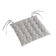 Trikala Geometric Quilted Seat Pad - Grey