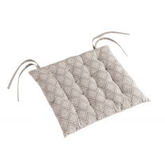 Trikala Geometric Quilted Seat Pad - Natural
