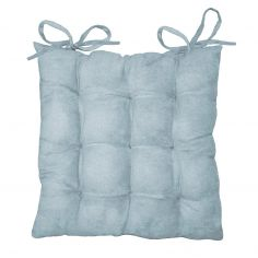 Suedine Plain Quilted Seat Pad - Sky Blue