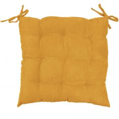 Suedine Plain Quilted Seat Pad - Yellow