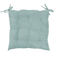 Suedine Plain Quilted Seat Pad - Mint Blue