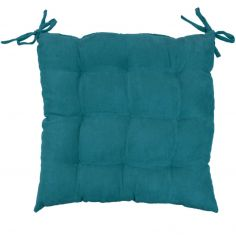 Suedine Plain Quilted Seat Pad - Teal Blue