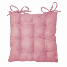 Suedine Plain Quilted Seat Pad - Pink