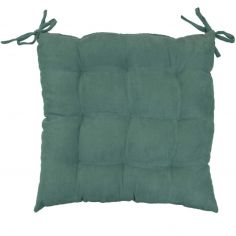 Suedine Plain Quilted Seat Pad - Green