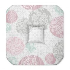 Barbara Floral Seat Pad with 4 Flaps - Pink