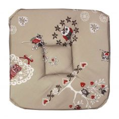 Chouetti Floral Owl Seat Pad with 4 Flaps - Multi
