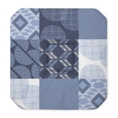 Dalea Geometric Check Seat Pad with 4 Flaps - Blue