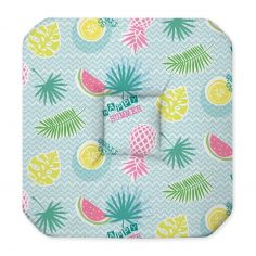 Happy Summer Tropical Seat Pad with 4 Flaps - Multi