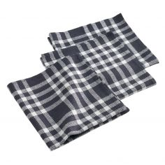 Traditio Check Woven Cotton Table Napkins - Black