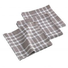 Traditio Check Woven Cotton Table Napkins - Taupe