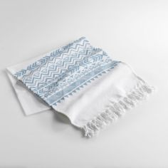 Lacanau Fouta 100% Cotton Tassel Throw - Light Blue
