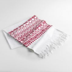 Lacanau Fouta 100% Cotton Tassel Throw - Red