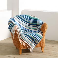 Matelot Striped Fouta 100% Cotton Tassel Throw - Blue