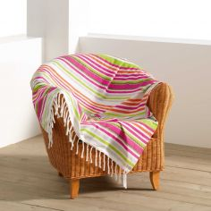 Matelot Striped Fouta 100% Cotton Tassel Throw - Pink