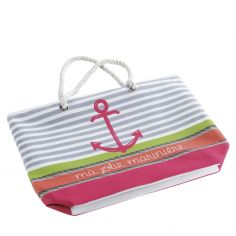 Matelot Striped Beach Bag - Pink
