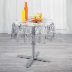Felicity Floral Transparent PVC Tablecloth - Grey