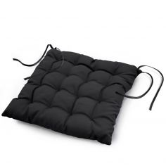 Essentiel Plain Quilted Set of 4 Seat Pads - Black