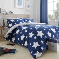 Stars Reversible Duvet Cover Set - Blue