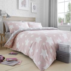 Stars Reversible Duvet Cover Set - Pink