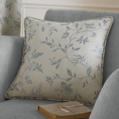 Bird Trail Jacquard Cushion Cover - Duck Egg Blue