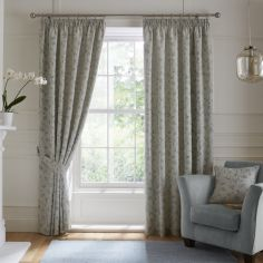 Bird Trail Jacquard Fully Lined Tape Top Curtains - Duck Egg Blue