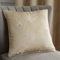 Feather Jacquard Cushion Cover - Natural