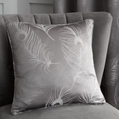 Feather Jacquard Cushion Cover - Silver Grey
