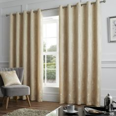 Feather Jacquard Fully Lined Eyelet Curtains - Natural