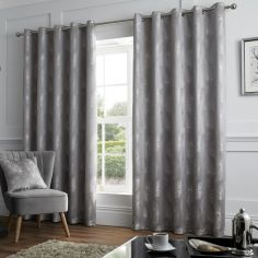Feather Jacquard Fully Lined Eyelet Curtains - Silver Grey