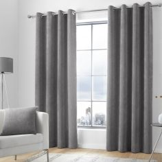 Kilbride Cord Chenille Fully Lined Eyelet Curtains - Charcoal Grey