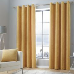 Kilbride Cord Chenille Fully Lined Eyelet Curtains - Ochre Yellow