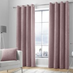 Kilbride Cord Chenille Fully Lined Eyelet Curtains - Blush Pink