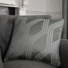 Houston Geometric Jacquard Cushion Cover - Charcoal Grey