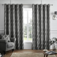 Houston Geometric Jacquard Fully Lined Eyelet Curtains - Charcoal Grey