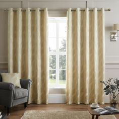 Houston Geometric Jacquard Fully Lined Eyelet Curtains - Natural