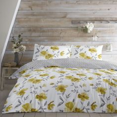 Celestine Floral Reversible Duvet Cover Set - Ochre Yellow