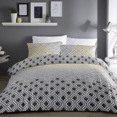 Ikat Bohemian Geometric Duvet Cover Set - Grey