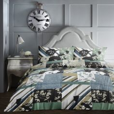 Tile Patchwork Duvet Cover Set - Teal Blue