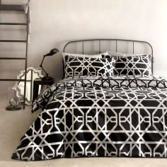 Manila Geometric 100% Cotton Duvet Cover Set - Black