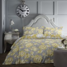 Mishka Floral Duvet Cover Set - Ochre Yellow
