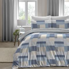 Boheme Geometric Patchwork 100% Brushed Cotton Duvet Cover Set - Blue