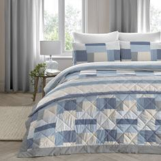 Boheme Geometric Patchwork 100% Brushed Cotton Bedspread - Blue