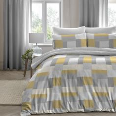Boheme Geometric Patchwork 100% Brushed Cotton Duvet Cover Set - Ochre Yellow